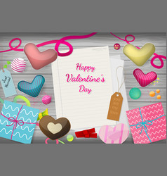 top view of valentine vector image