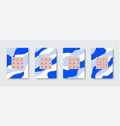 trendy birthday card set vector image
