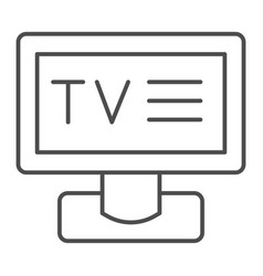 tv thin line icon television vector image