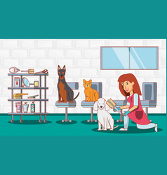 veterinary service set icons vector image