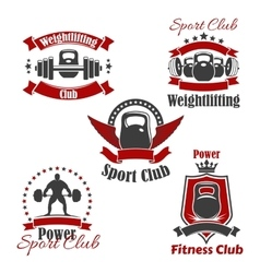 Weightlifting sport club or gym icons set vector