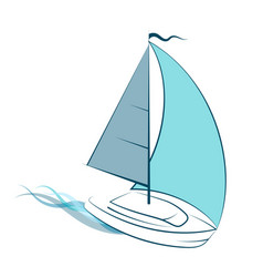 yacht with sail on waves vector image