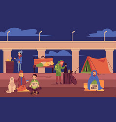 Young homeless people spending night outdoors vector