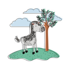 Zebra cartoon in outdoor scene with trees and vector