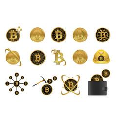 bitcoin icon set vector image