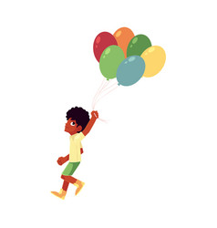 black african american boy running with bunch of vector image