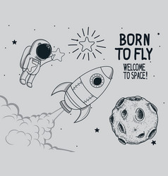 born to fly vintage vector image vector image