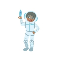 Boy Dressed As Astronaut Holding Toy Spaceship vector image vector image