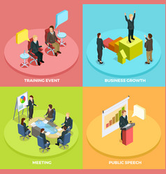 Business learning isometric concept vector