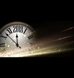 golden 2018 new year clock background vector image vector image