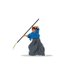 Naginatajutsu Japanese Samurai martial arts master vector image vector image