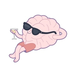 Relaxing with a glass of vermouth Brain vector image vector image