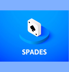 spades isometric icon isolated on color vector image