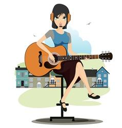 Woman playing guitar vector image vector image
