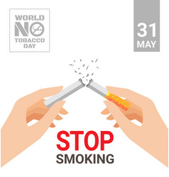 world no tobacco day for stop smoking concept vector image vector image