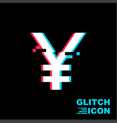 yen sign in glitch style vector image