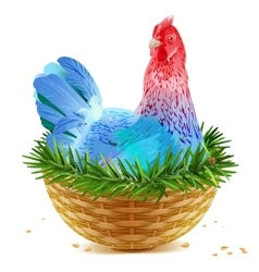 Blue Christmas chicken laying hen symbol of 2017 vector image