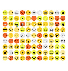 Great set of 99 color emotion isolated on white vector image