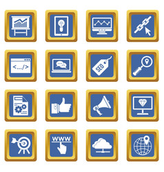 seo icons set blue vector image vector image