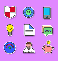 Set of colored flat icons for websites and vector