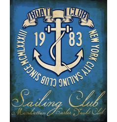 vintage sailing club tee graphic design vector image