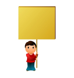 boy with the message board vector image vector image