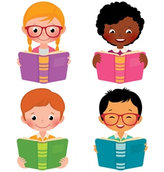 Kids read books vector image vector image