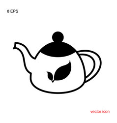 teapot kettle trendy icon isolated on white vector image
