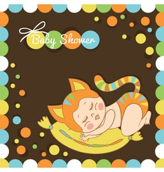 Card with the birth of a child dressed as a cat vector