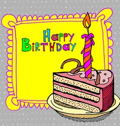 cute happy birthday cake candle cardtion vector image vector image