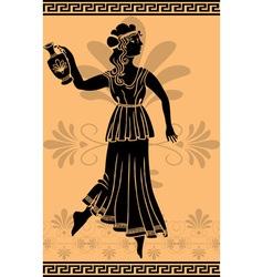 Greek woman stencil on orange fone vector image vector image