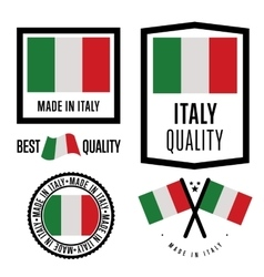 Made in Italy label set national flag vector image vector image