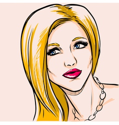 Portrait adult fashionable woman with yellow hair vector image