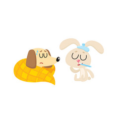 sick baby dog and rabbit having flu fever cold vector image vector image
