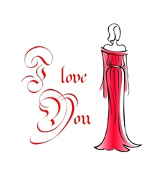 Woman in long red dress vector image vector image