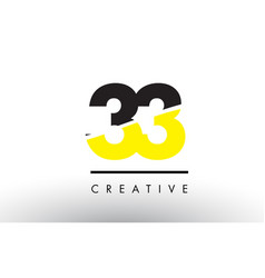 33 black and yellow number logo design vector