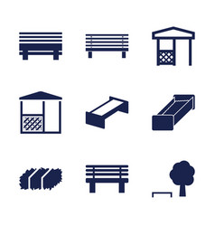 9 bench icons vector