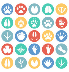 Animal foot prints icons set on color circles vector