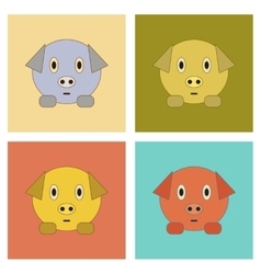 Assembly flat icons kids toy pig vector
