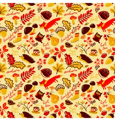 autumn season nature plants seamless pattern vector image