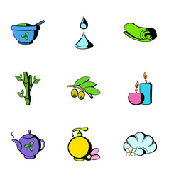 beauty spa icons set cartoon style vector image