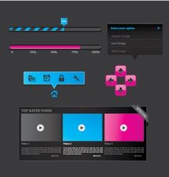 black set of web design vector image