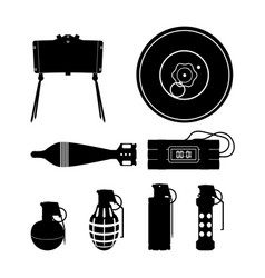 Black silhouette of hand grenade mine vector