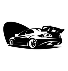 black tuning sports car business card template vector image