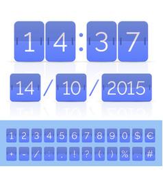 Blue flat flip calendar with timer on white vector