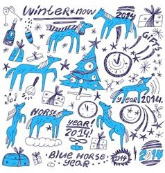 Blue horse new year - doodles set vector