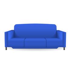 blue modern sofa mockup realistic style vector image