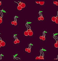 bright seamless pattern with lovely cherries vector image