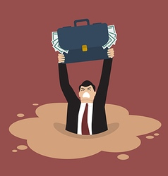 Businessman with briefcase full of money sinking vector image
