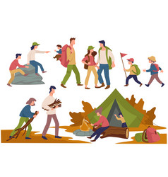 Camping people children and parents spending time vector